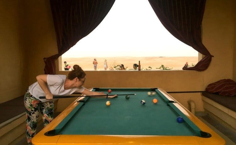 Playing pool at Tilal Liwa Resort, Abu Dhabi