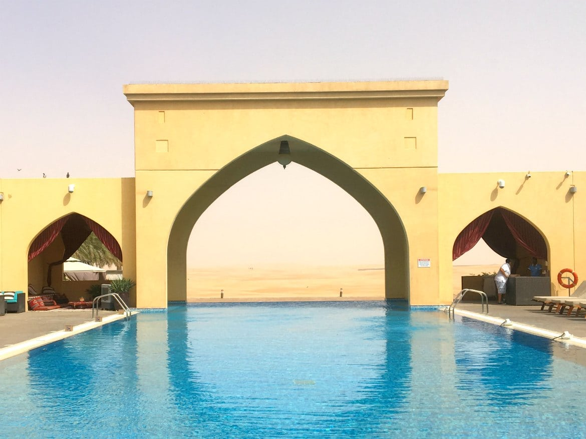 Arches in front of pool at Tilal Liwa Hotel, Abu Dhabi