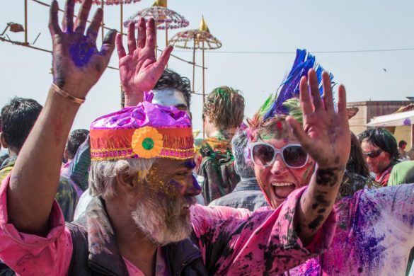 Party on the ghats at Holi in Varanasi