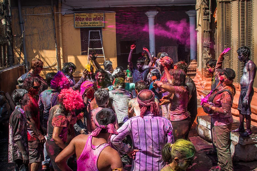 Holi in a temple courtyard in Varanasi
