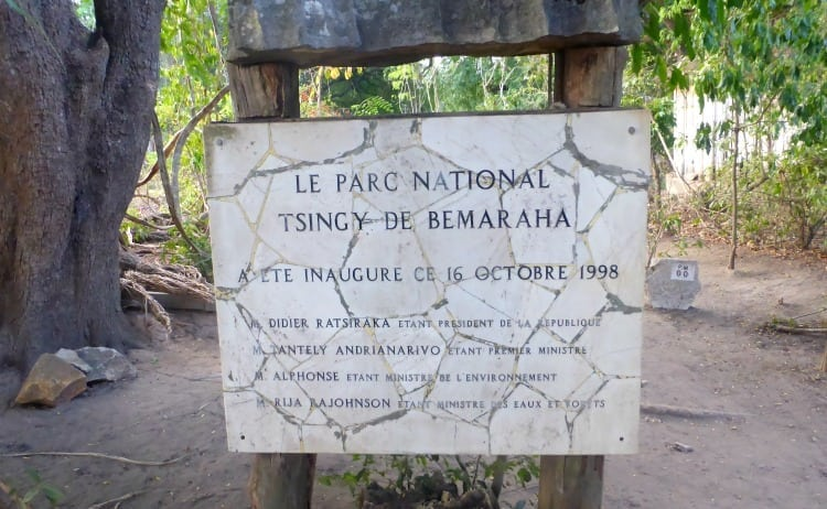 Image of sign to Tsingy de Bemaraha National Park