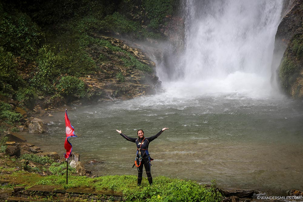 Finisihed rappelling down 45m waterfall - Ghalel in Nepal - Wanders Miles