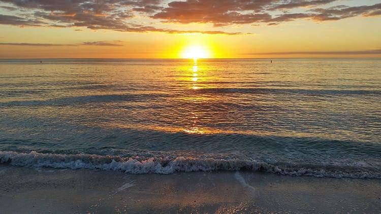 Sunset over the ocean at Bradenton, Florida