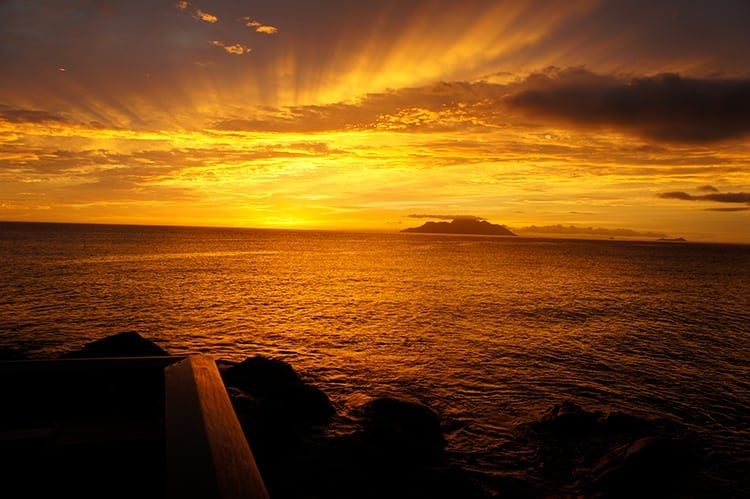 Sunset over the ocean in Seychelles