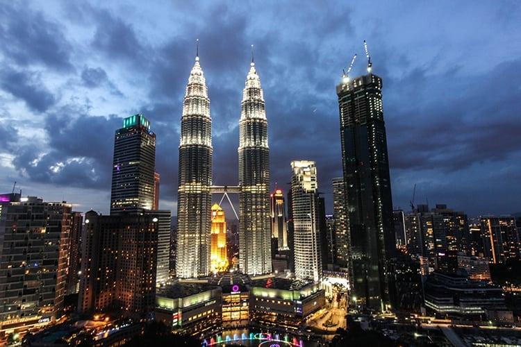 Sunset over Petronas Towers in Kuala Lumpur