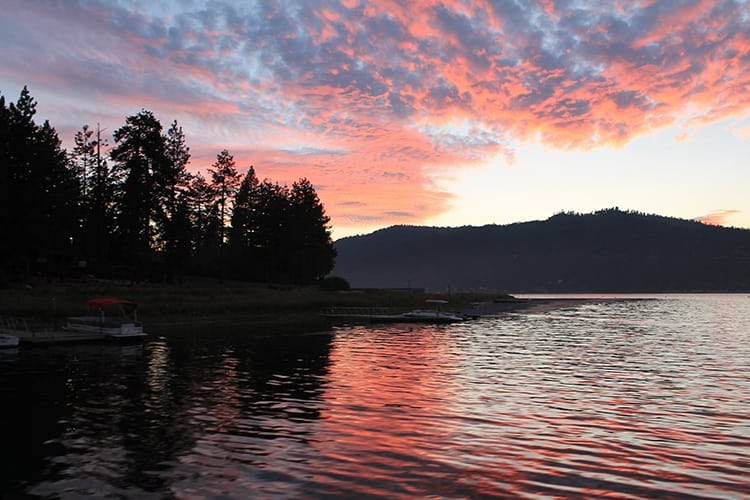 Sunset over Big Bear Lakes in California