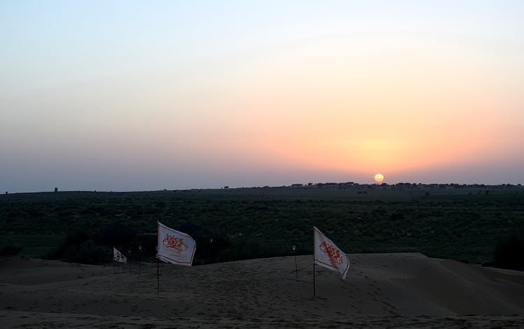 Sunset over Jaisalmer Dunes in Rajasthan