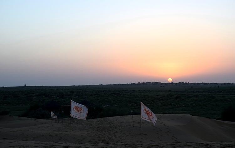Sunset over Jaisalmer Dunes in Rajasthan