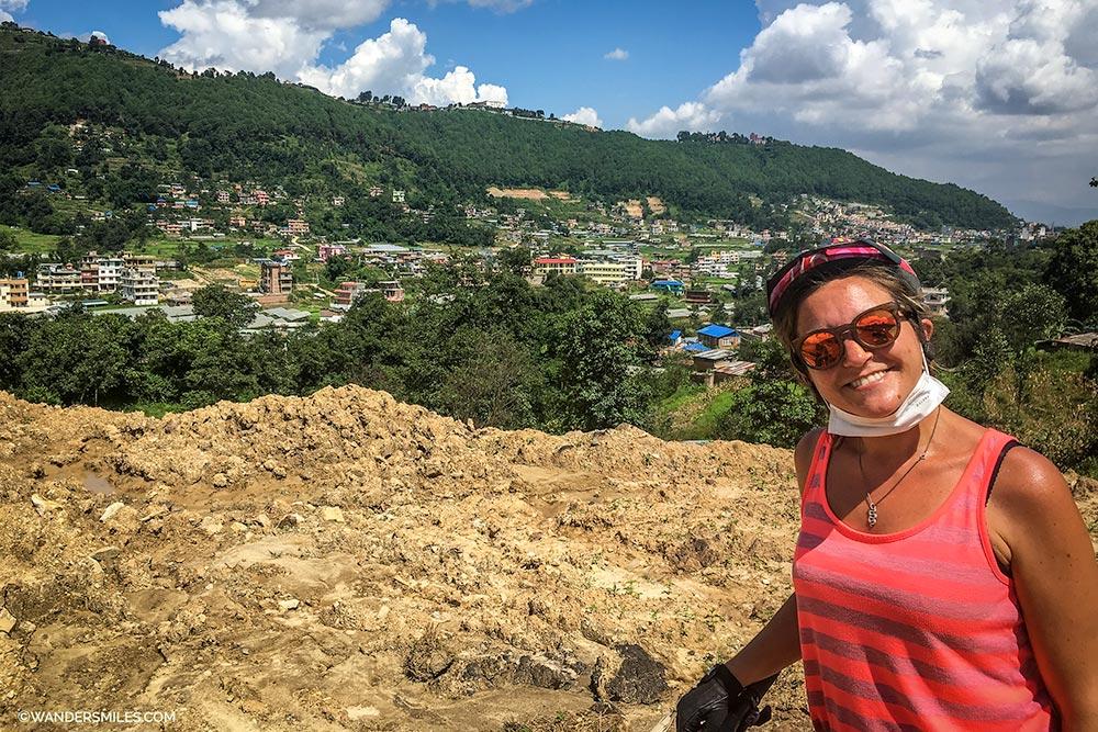 Happy face mountain biking in Nepal. Kathmandu Valley is beautiful.