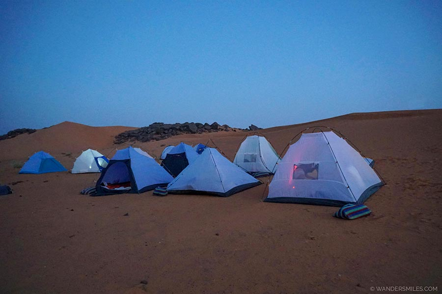 camping by the pyramids of Meroe