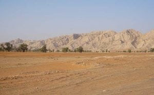 Driving by Fossil Rock in Sharjah