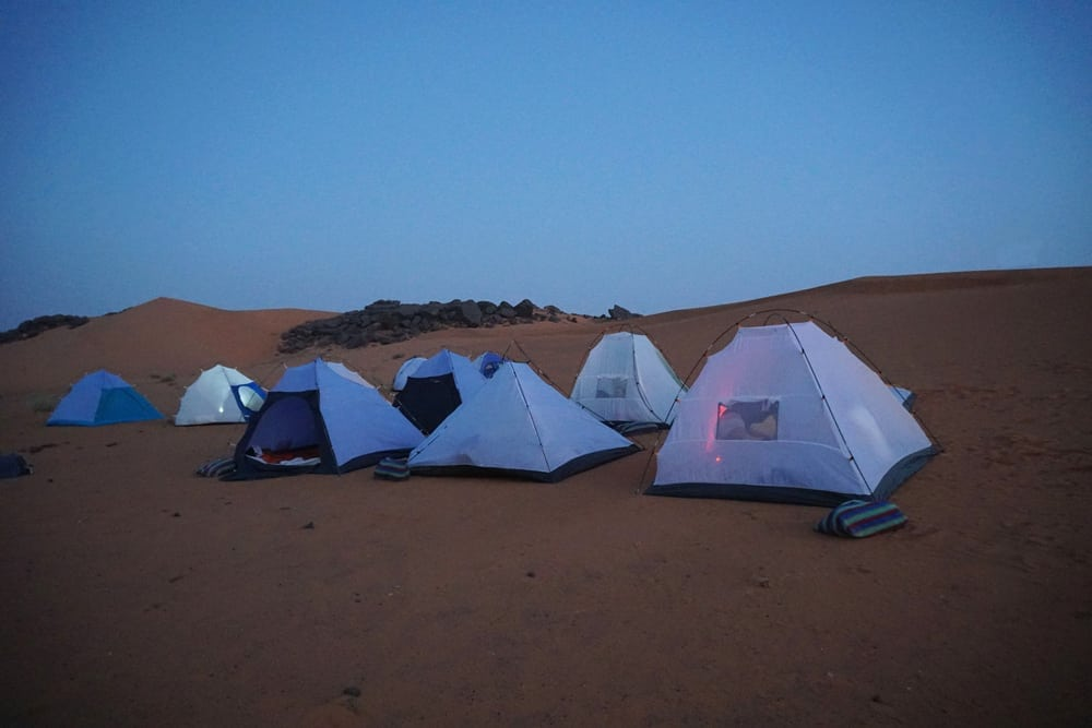 Camping in the desert by the Pyramids of Meroe