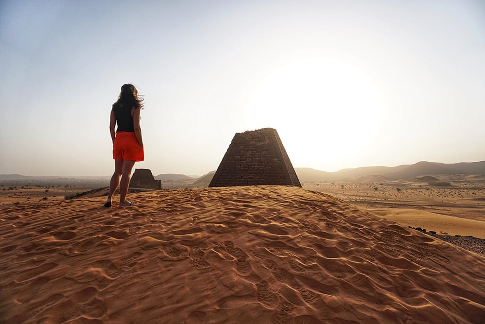 SUNSET BY THE PYRAMIDS OF MEROE IN SUDAN