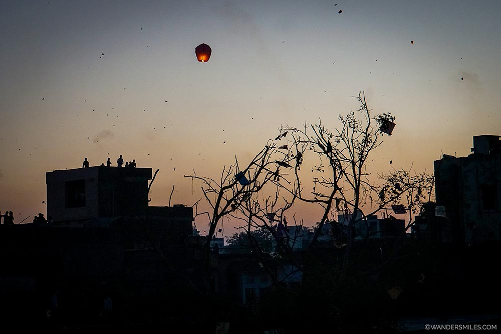 Night time at the Kite Festival in Jaipur - Wanders Miles