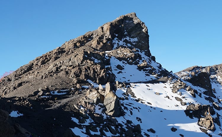 Day 4 on the Kilimanjaro trek. Snow-capped mountains from Gilmans Point to Stella Point.