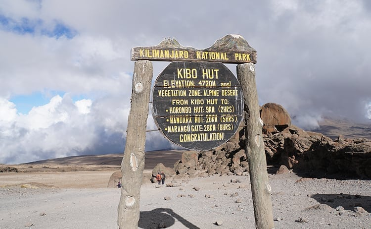 Day 4 on the Kilimanjaro trek. Arrived at Kibo Huts after descending from the summit.