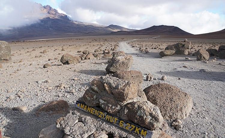 Day 4 on the Kilimanjaro trek from Kibo Huts to Horombo across the alpine desert..