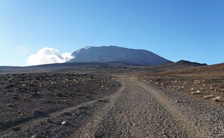 Day 4 on the Kilimanjaro trek from Kibo Huts to Horombo across the alpine desert by Mount Mawenzi