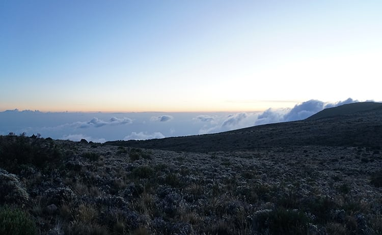 Day 4 on the Kilimanjaro trek with the sunset as we descend to Horombo Huts