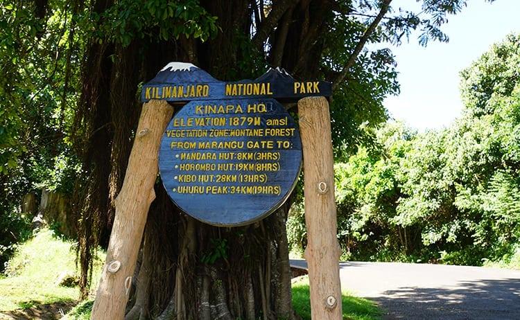 Day 5 on the Kilimanjaro trek. The board at Marangu Gate.