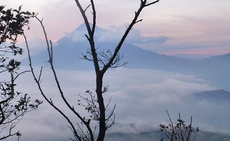 Sunset from hiking opn Mount Pacaya in Guatemala