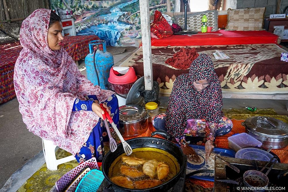 Iranian ladies cooking on Hengam Island