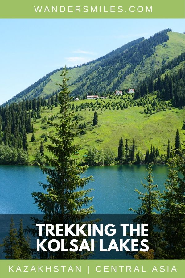 Trekking the Kolsai Lakes in Kazakstan with the lush green Tien Shan mountains is a must-do in Central Asia. #VisitKazakhstan #CentralAsia #Trekking