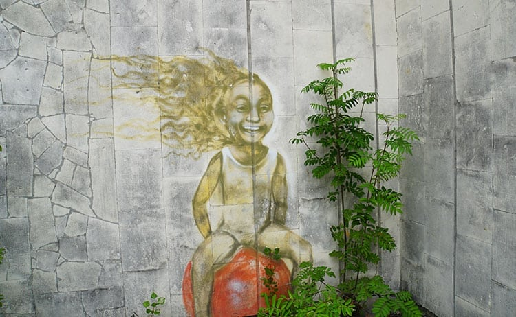 Street art of happy girl in Pripyat, Chernobyl exclusion zone