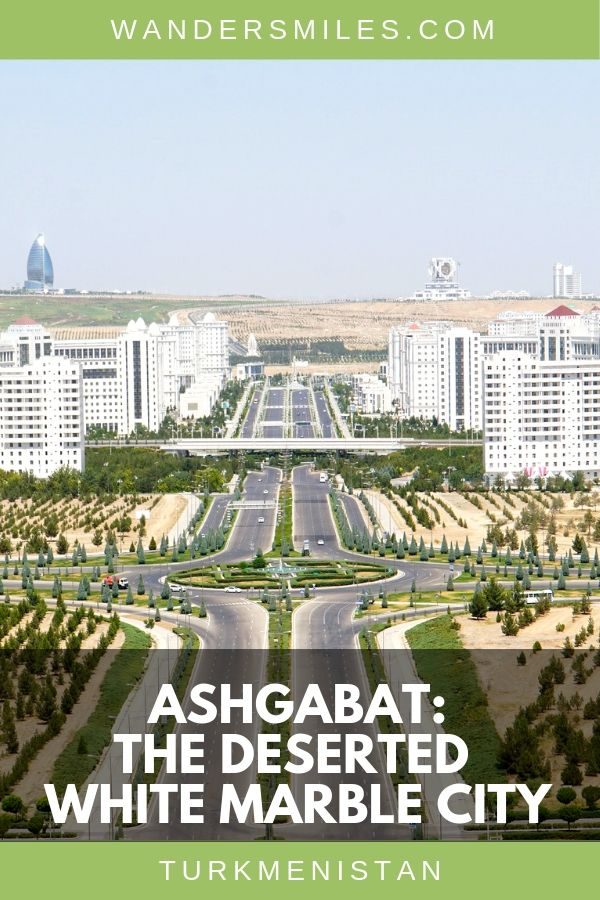 Take in the views from the Monument of Neutrality over Ashgabat, the deserted white city in Turkmenistan