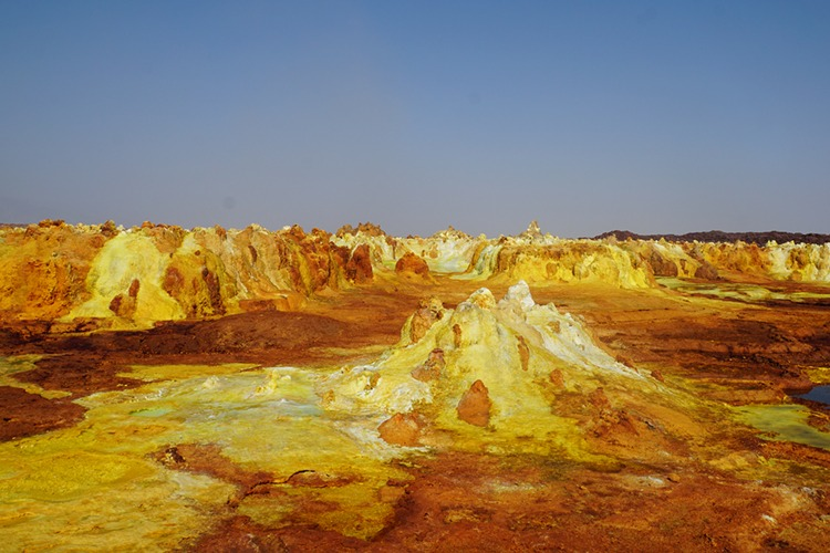 Dallol, a hot and alien landscape in the Danakil Depression. Yellows and and brown colours are so vivid.