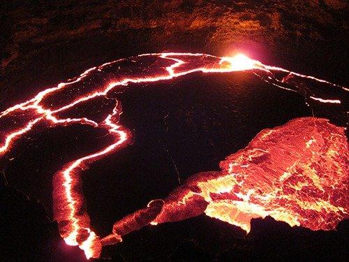 Live lava at Erta Ale volcano in Ethiopia