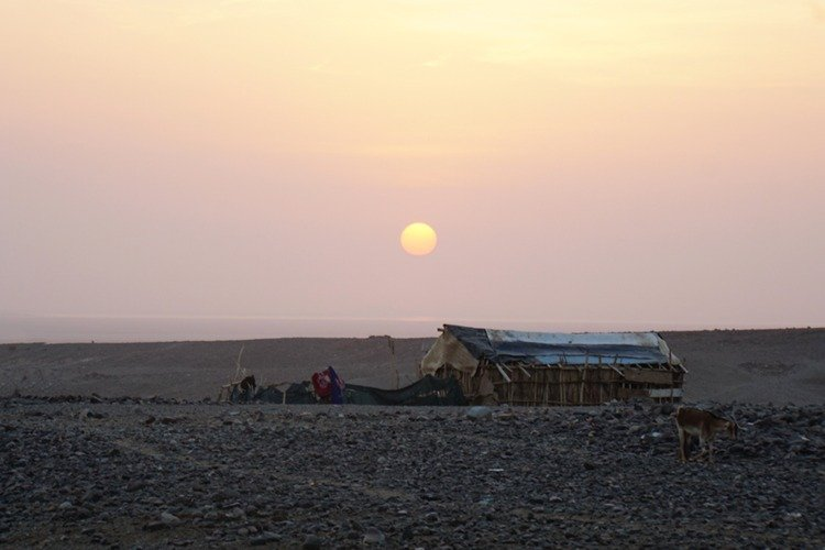 Sunrise at Afar camp in the Danakil Depression