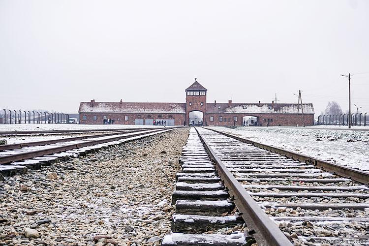 Iconic train tracks at the Birkinau concentration camp