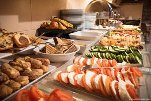 Breakfast buffet at the Pergamin Old Town Apartments in Central Krakow, Poland