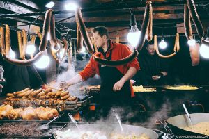 Street food sausages at the Krakow Christmas market in the Main Square