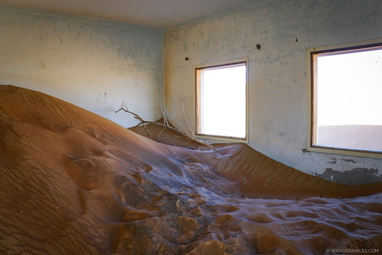 Room in Al Madam, abandoned village, filled with sand