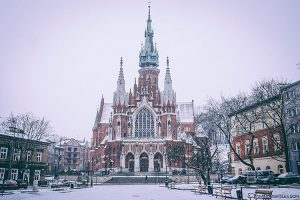 Snowing in front of St Joseph's Church in Krakow