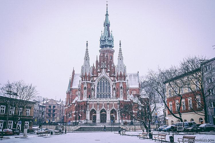Snowing in front of St Joseph's Church in Krako