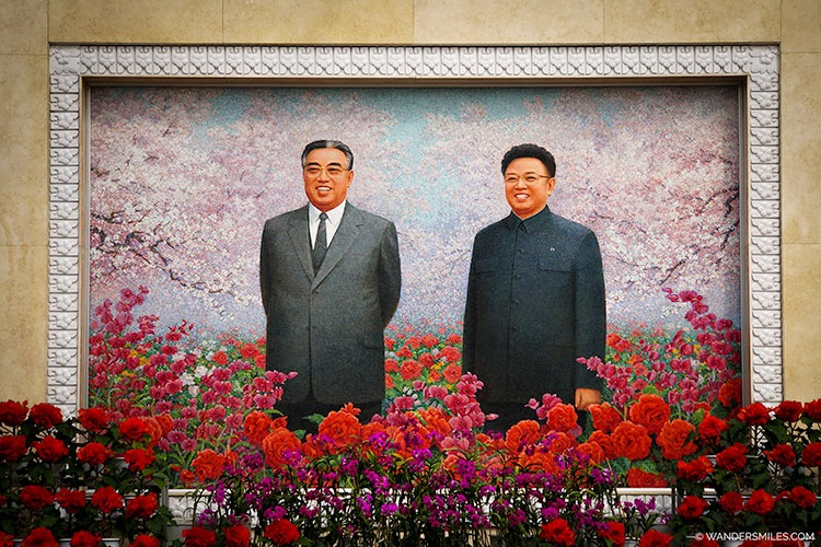 President Kim Il Sung and General Kim Jong Il mosaic at the Kimilsungia and Kimjongilia Flower Exhibition Centre - Things to see in Pyongyang