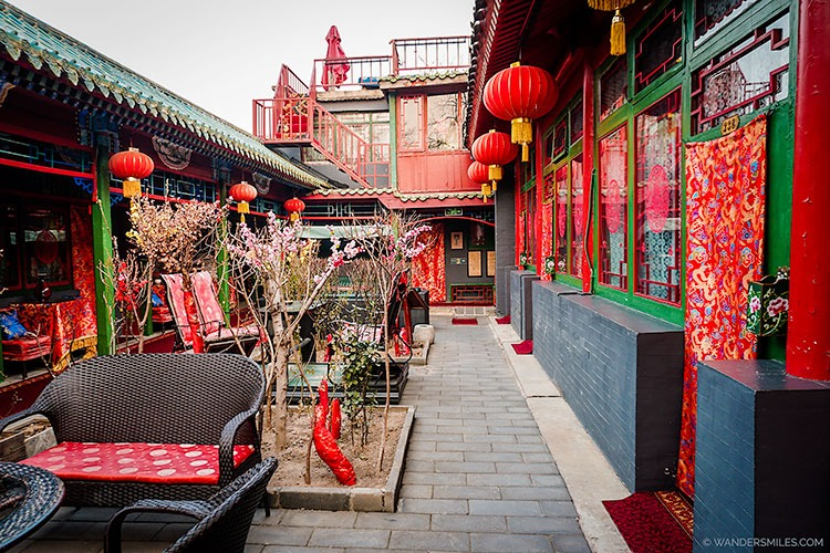 Open courtyards at the historical Beijing Double Happiness Courtyard Hotel