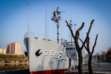 The USS Pueblo on show at the Fatherland Liberation War Museum, Pyongyang, DPRK - Things to see in Pyongyang