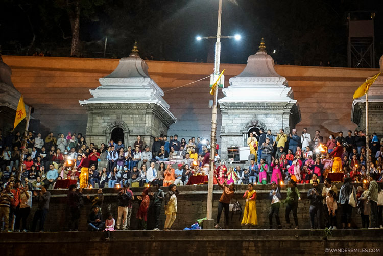 Aarti rituals at Pashupatinath Temple at dusk along the banks of the Bagmati River in Kathmandu, Nepal