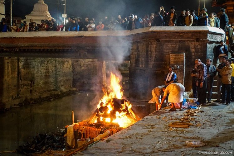 Cremations at Pashupatinath Temple is set along the banks of the sacred Bagmati River in Kathmandu, Nepal
