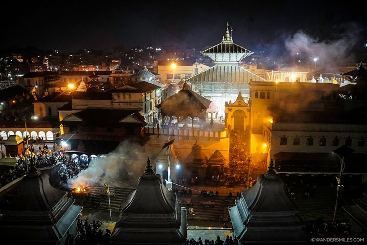 Pashupinath Temple at night in Kathmandu