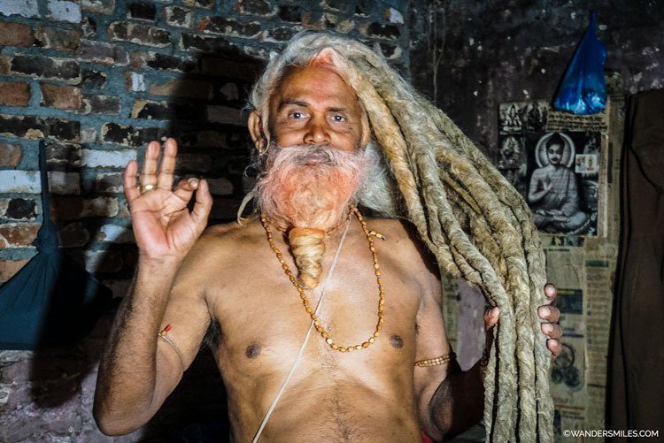 Sadhu at Pashupatinath, Kathmandu, with his 2 metre long dreadlocks