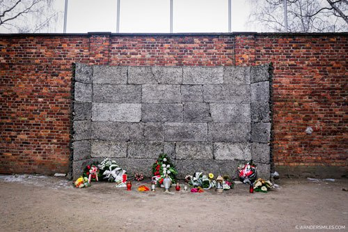 The Death Wall between Blocks 10 and 11 at Auschwitz, Poland.
