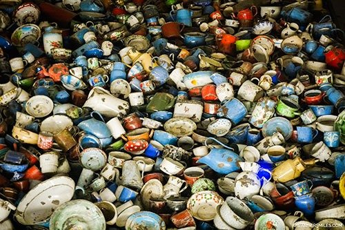 Pots and kitchenware seized by the victims of Auschwitz, Poland