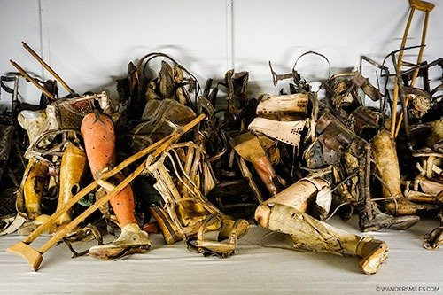 Crutches and false legs found at Auschwitz