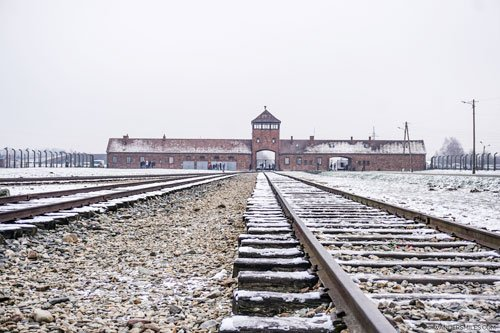Iconic train tracks at Auschwitz II, Birkenau concentration camp