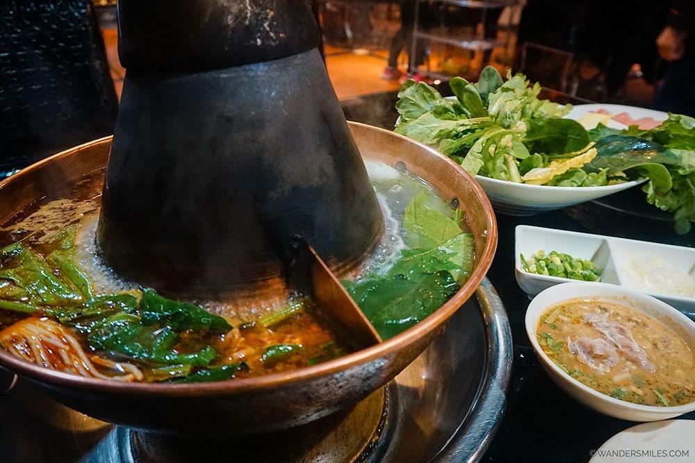 Spicy Beijing Hot Pot in a restaurant near Wangfujing Night Market